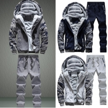 Casual Style Printed Front Zipper Hooded Sweatshirt + Pants Men's Two-piece Set