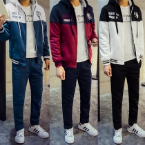 Casual Style Contrast Color Front Zipper Hooded Sweatshirt + Pants Men's Two-piece Set