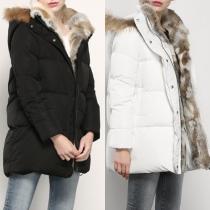 Fashion Artificial Fur Collar Front Zipper Long Sleeve Hooded Down Coat