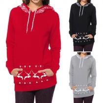 Cute Style Elk Printed Front Pocket Long Sleeve Hooded Sweatshirt