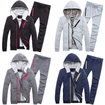 Casual Style Front Zipper Long Sleeve Hooded Sweatshirt + Pants Men's Two-piece Set
