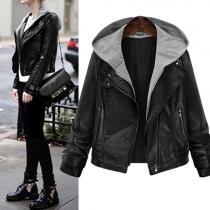 Fashion Front Zipper Long Sleeve Hooded Slim Fit Biker PU Jacket For Women