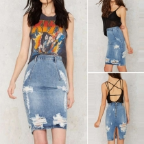 Fashion Back Slit High Waist Slim Fit Damaged Denim Skirt