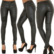 Sexy Solid Color Zipper Crinkle Slim Fit PU Pants For Women