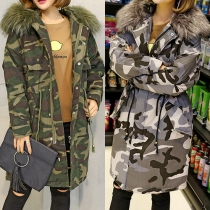 Fashion Artificial Fur Collar Long Sleeve Hooded Gathered Waist Camouflage Padded Coat