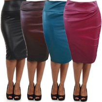Sexy Solid Color Back Slit High Waist Artificial Leather Skirt