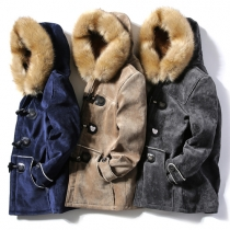 Fashion Artificial Fur Collar Horn Buttons Long Sleeve Hooded Men's Suede Padded Coat