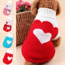 Sweet Style Strawberry/Heart-shaped Printed Turtleneck Sweater For Dogs