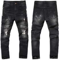 Fashion Side Zipper Ripped Slim Fit Men's Jeans
