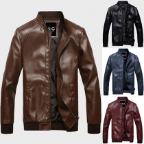 Cool Style Solid Color Front Zipper Long Sleeve Stand Collar Men's PU Jacket