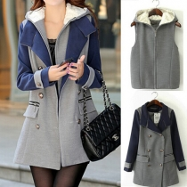 Fashion Hooded Sleeveless Vest + Contrast Color Lapel Double-breasted Woolen Coat Two-piece Set