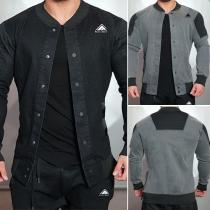 Fashion Single-breasted Long Sleeve Crinkle Men's Denim Jacket