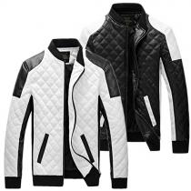 Trendy Contrast Color Stand Collar Long Sleeve Front Zipper Men's PU Jacket