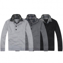 Trendy Lattice Spliced Double-layer Collar Long Sleeve Slim Fit Men's Sweater