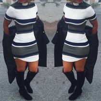 Fashion Short Sleeve Mock Neck Striped Tight Dress