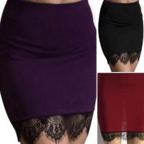 Fashion High Waist Lace Spliced Bust Skirt
