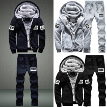 Fashion Casual Solid Color Hoodie Men's Sports Suit