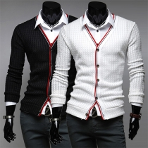 Fashion Long Sleeve Spliced Slim Fit Men's Knit Cardigan