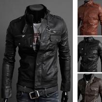 Punk Style Long Sleeve Stand Collar Men's PU Jacket