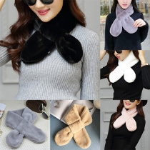 Fashion Solid Color Faux Fur Crossover Scarf