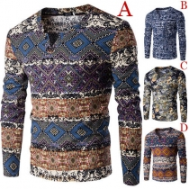 Ethnic Style Printed Long Sleeve V-neck Men's Knit Tops