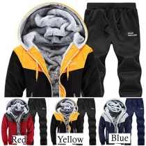 Fashion Contrast Color Long Sleeve Hooded Plush Lined Men's Sports Suit