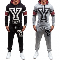 Fashion Letters Printed Long Sleeve Hoodie + Pants Men's Sports Suit