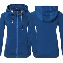 Casual Style Solid Color Long Sleeve Hooded Sweatshirt Coat