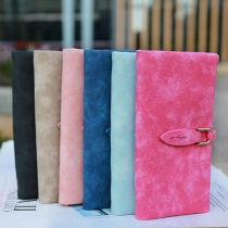Fashion Simple Multifunctional Solid Color Leaf Hasp Long Wallet