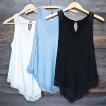 Fashion Casual Solid Color Hollow Out Sleeveless Vest