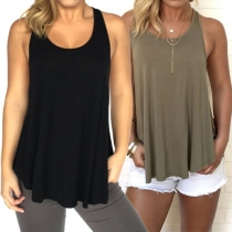 Fashion Casual Solid Color Backless Sleeveless Vest