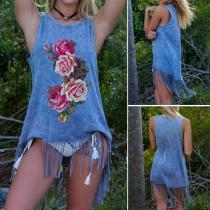 Fashion Casual Flower Printed Sleeveless Tassel Hemline Vest