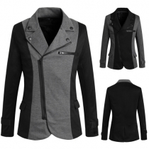 Fashion Casual Color Spliced Oblique Zipper Long Sleeve Men's Blazer