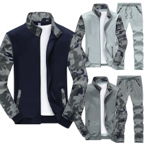 Fashion Camouflage Printed Long Sleeve Sweatshirt + Casual Pants Men's Sports Suit