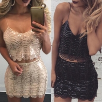 Sexy Backless Sequin Cami Top + High Waist Bust Skirt Two-piece Set