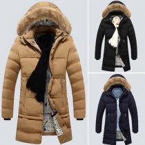 Fashion Solid Color Detachable Hood Men's Padded Coat