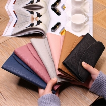 Simple Style Solid Color Long Wallet for Women