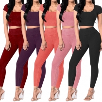 Fashion Solid Color Short Sleeve Crop Top + High Waist Leggings Two-piece Set