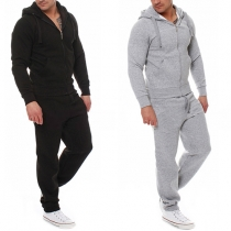 Fashion Solid Color Long Sleeve Hoodie + Pants Men's Sports Suit