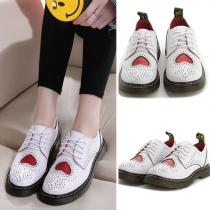 Retro Style Round Toe Flat Heel Lace-up Shoes
