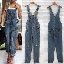 Fashion High Waist Relaxed-fit Ripped Denim Dungarees