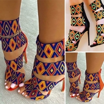 Fashion Geometric Printing High-heeled Open Toe Sandals