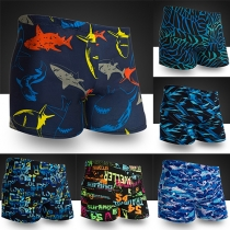 Fashion Elastic Waist Printed Swimming Shorts for Men