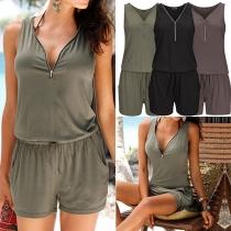 Fashion Solid Color Sleeveless Zipper V-neck Romper