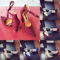 Fashion Pointed-toe Thick High-heeled Ankle Strap Shoes