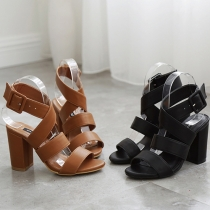 Retro Style Open Toe Thick High-heeled Sandals