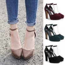 Elegant Pointed-toe Thick High-heeled Ankle Strap Shoes