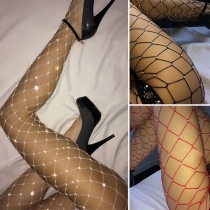 Sexy Rhinestone Inlaid Hollow Out Fishnet Stockings