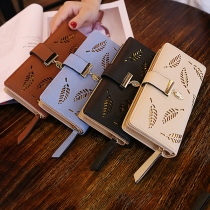 Fashion Solid Color Hollow Out Leaf Long Wallet for Women