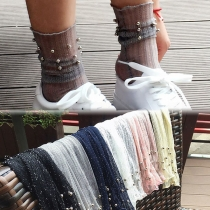 Fashion Solid Color Beaded Gauze Socks